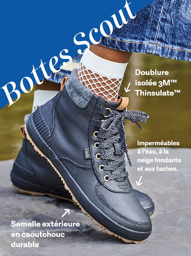 Person wearing Scout Boot III Splash Canvas w/ Thinsulate™ boots in black.