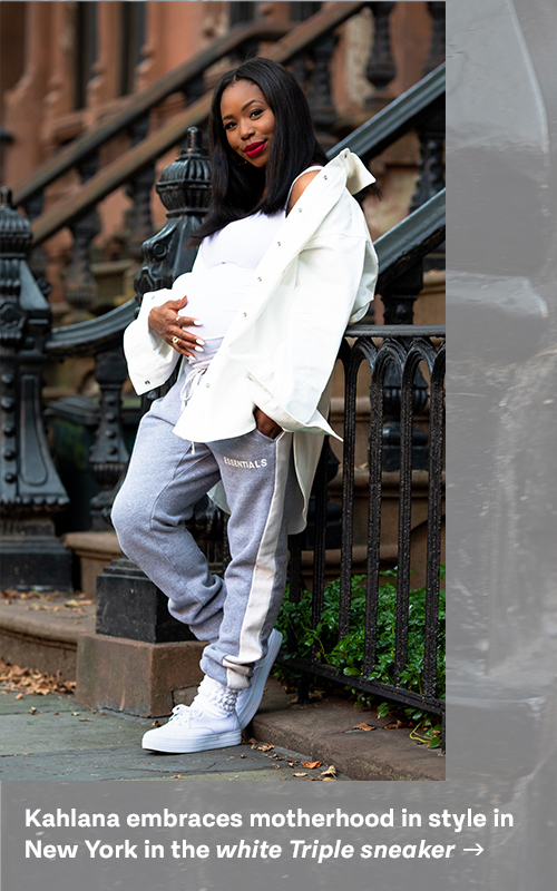 Kahlana embraces motherhood in style in New York in the white Triple sneaker