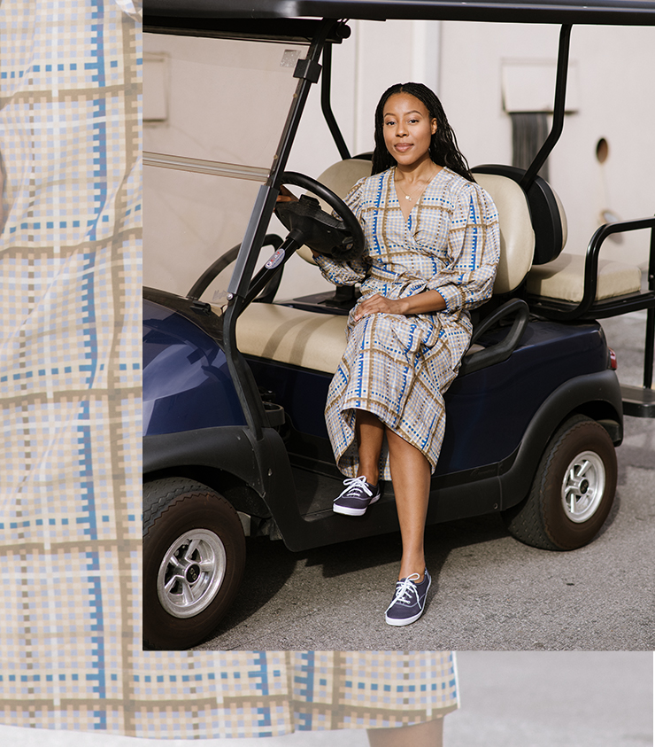 Alana Mayo drives change at the Warner Bros. Studios office in Hollywood in the navy Champion sneaker.
