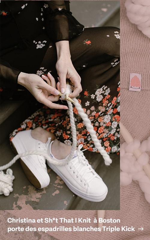 Christina knits that sh*t in Bostonin the white Triple Kick leather sneaker