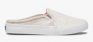 Keds x Oh Joy! Holographic White Double Decker Mule Leather Sneaker