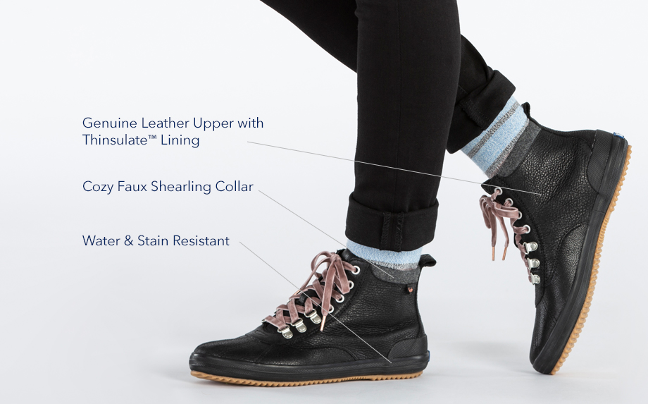 Genuine leather upper with Thinsulate(TM) lining.  Cozy faux shearling collar.  Water & stain resistant.