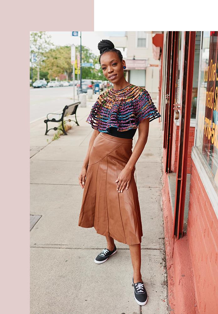 Michelle Dalzon standing outside a shop