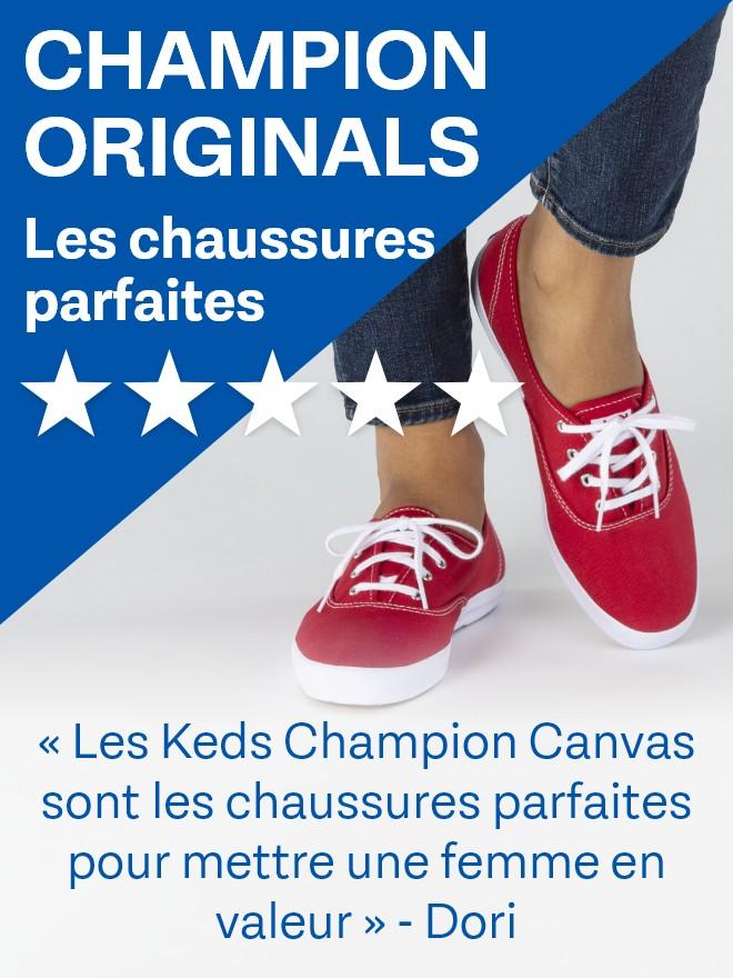 Red women's Champion Originals Keds.