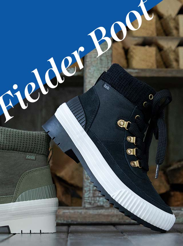 A black Fielder boot stacked on an olive one.
