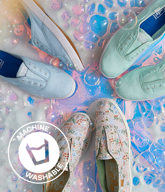 Keds washable sneakers and bubbles.