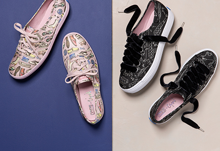 Two pairs of Keds featuring fun prints. Colorful on pink, and white on black.