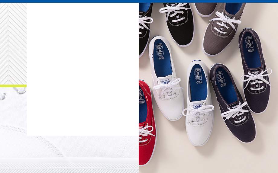 Looking downward on a selection of Keds Champions.