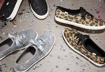 Leopard print and black sparkly Keds.