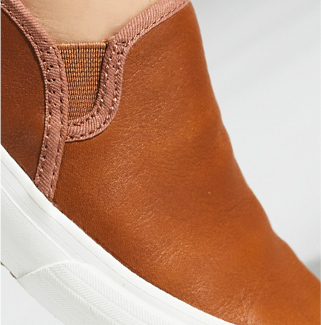 Keds Double Decker Leather shoe, extreme close-up.