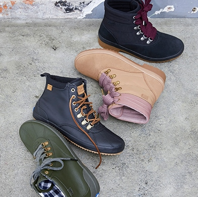 An assortment of Keds boots