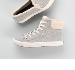 Keds grey boots with pink bow like laces.