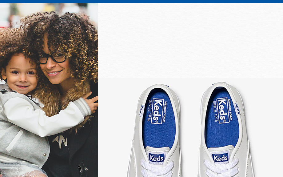Mom with her daughter and a pair of Keds.
