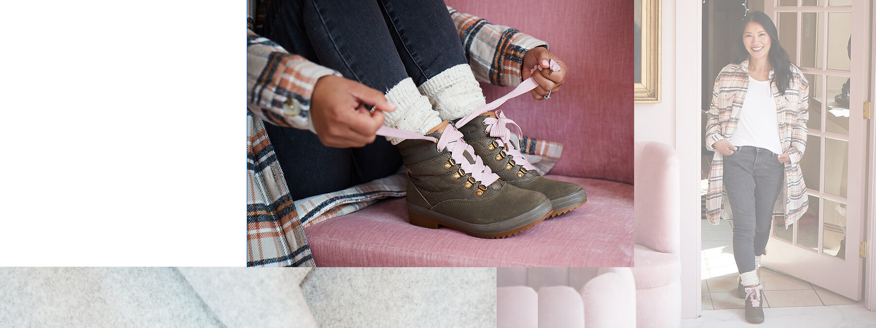 Flannel and pink laces.
