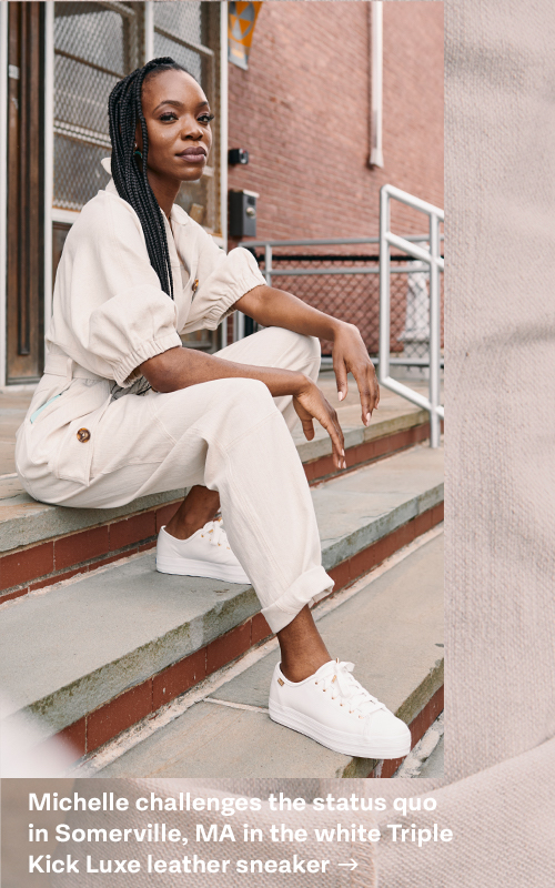 Michelle challenges the status quo in Somerville, MA in the white Triple Kick Luxe leather sneaker
