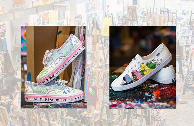 An art display, including some Keds shoes with artistic drawings.