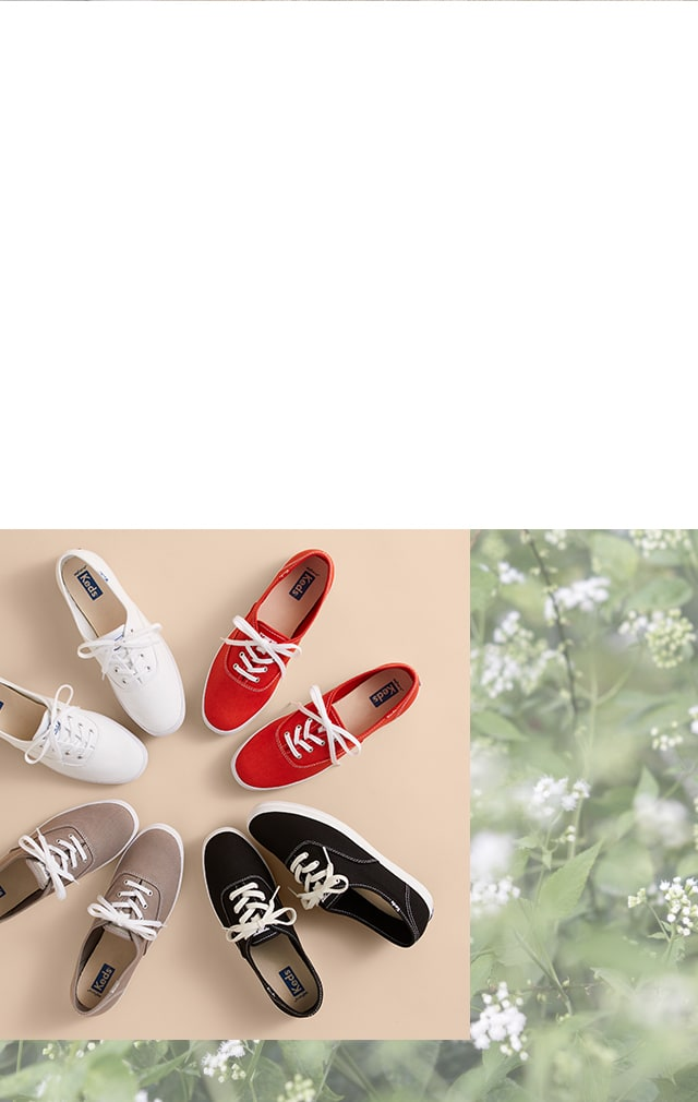 Keds Champion sneakers in white, red, tan, and black. An organic cotton plant.