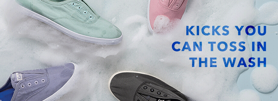 Colored Keds in soapy bubbles, captioned: Kicks you can toss in the wash.