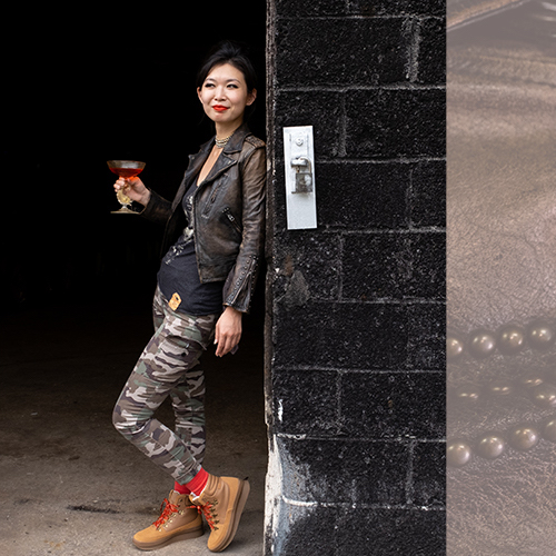 Yuan cheers on her Cocktail Collective sisters in NY in the tan Midland Boot