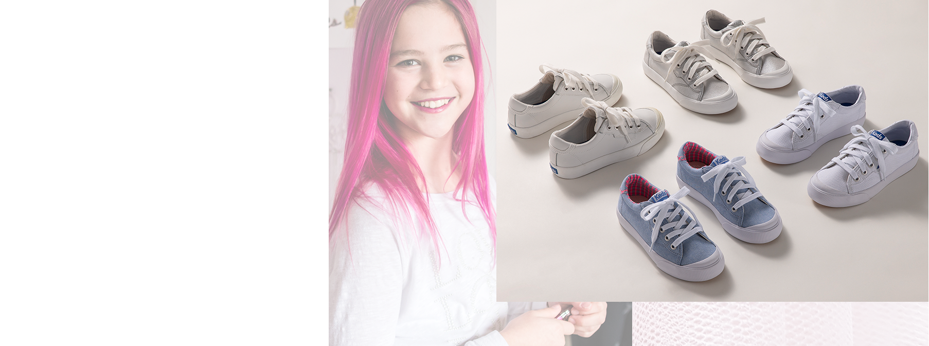 A girl smiling next to several varities of Keds shoes..