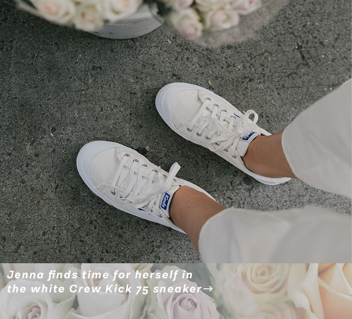 Jenna finds time for herself in the white Crew Kick 75 sneaker