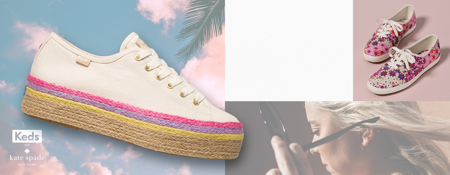 A white shoe with a pink, purple and lime rainbow trim base.