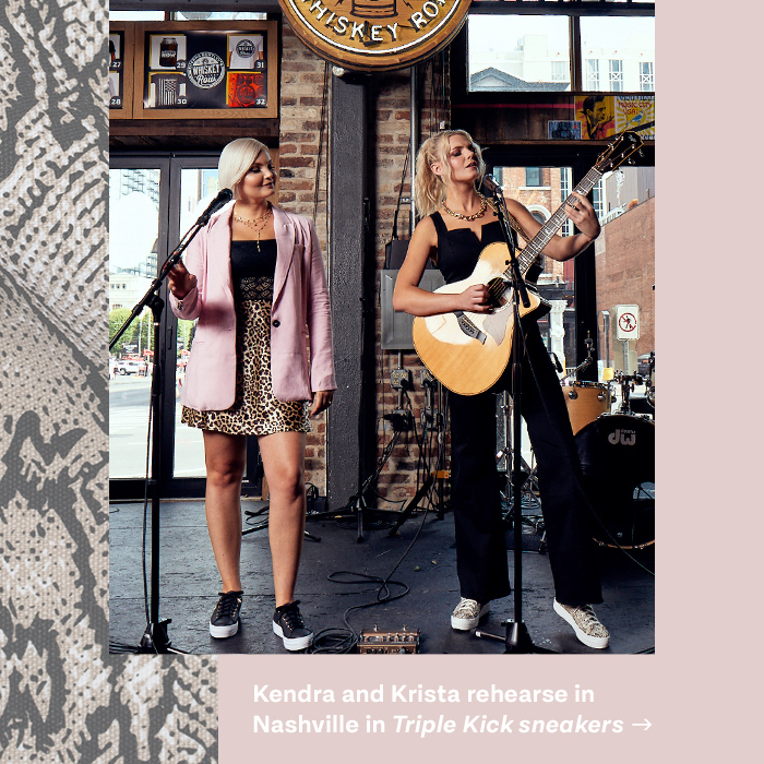 Kendra and Krista rehearse in Nashville in Triple Kick sneakers
