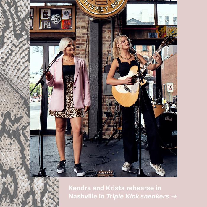 Kendra and Krista rehearse in Nashville in Triple Kick sneakers