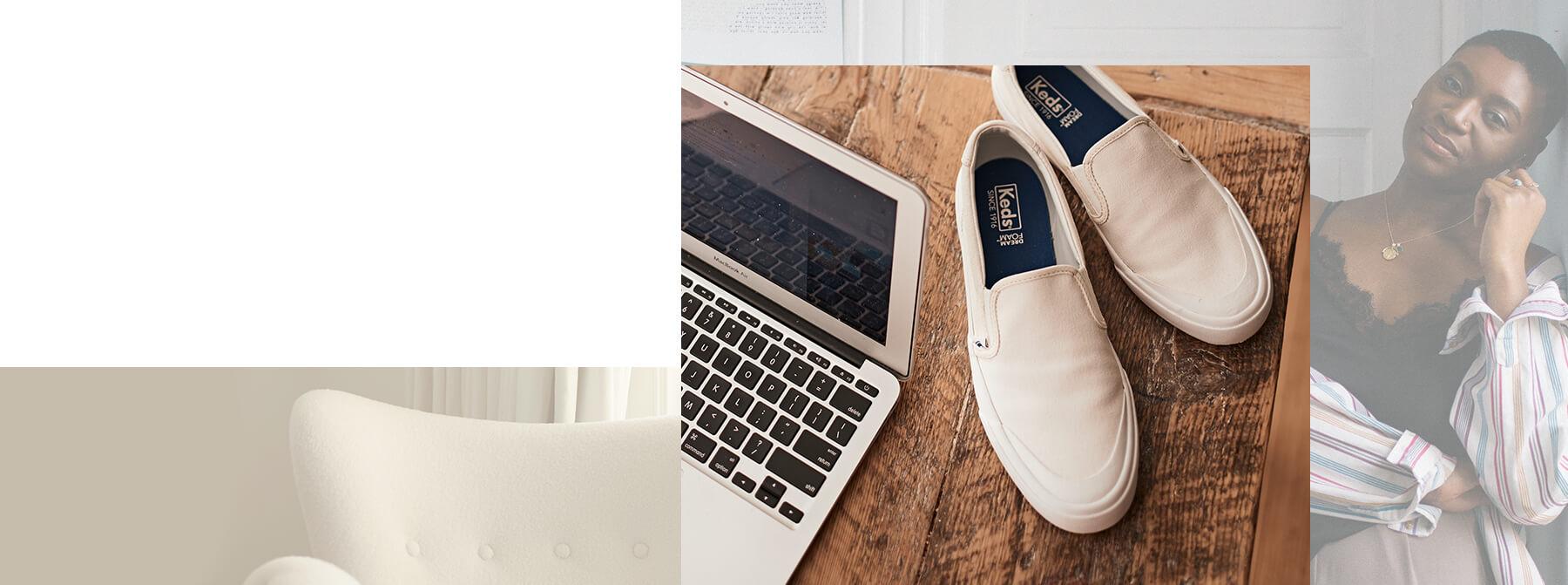 Keds. Comfortable shoes next to a laptop.