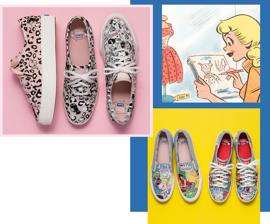 Keds of the collection laid out in a row beside a frame from a comic strip where Betty is looking at a clothing catalog.