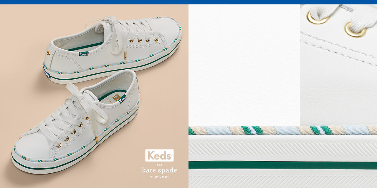 White and green Keds tennis shoes.
