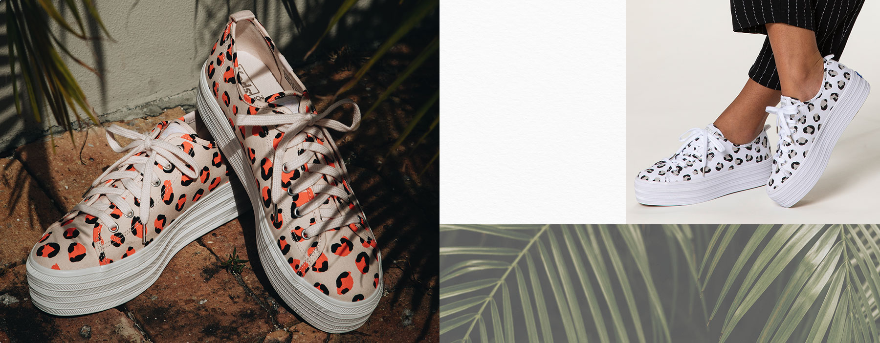 Palm trees and printed pairs of Keds shoes.