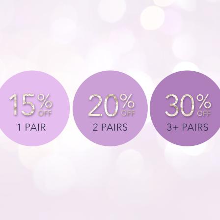 1 pair 15% 2 pairs 20% 3 pairs 30%