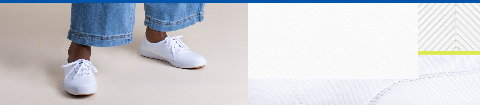 Women's legs wearing white pants and white Keds Champion sneakers