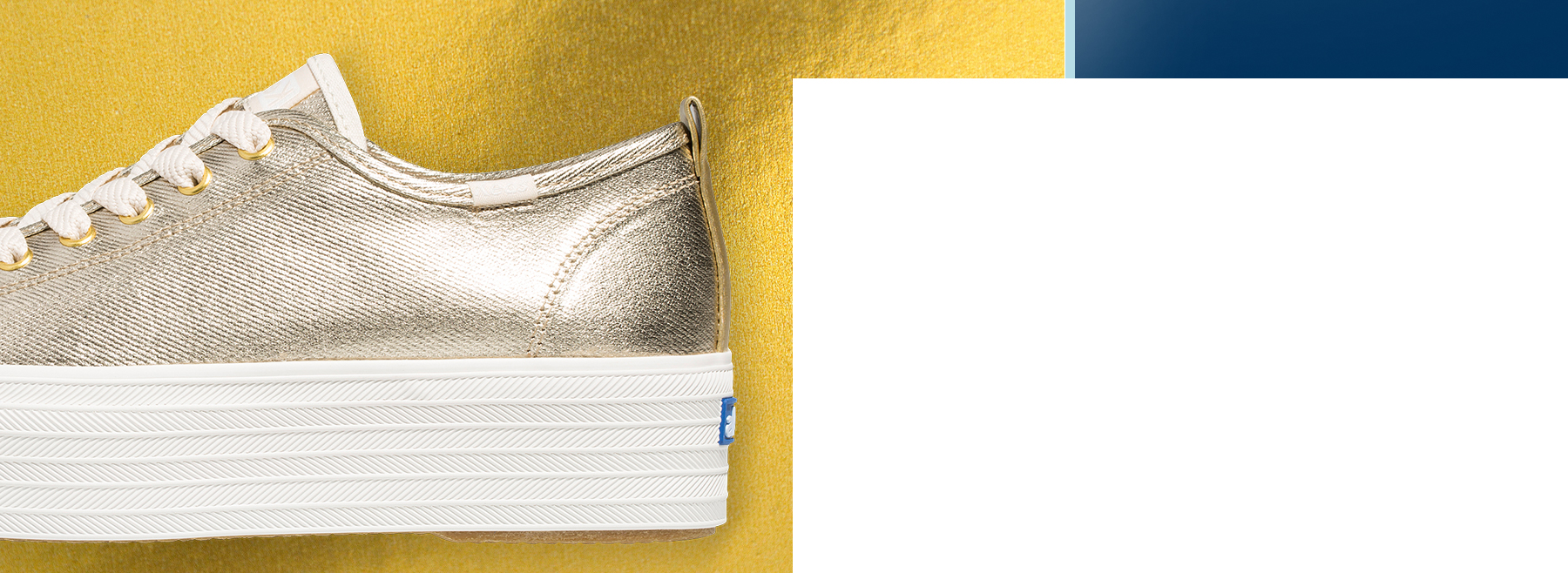 A close up side view of the Keds x Wonder Woman Triple Up Metallic golden shoe.