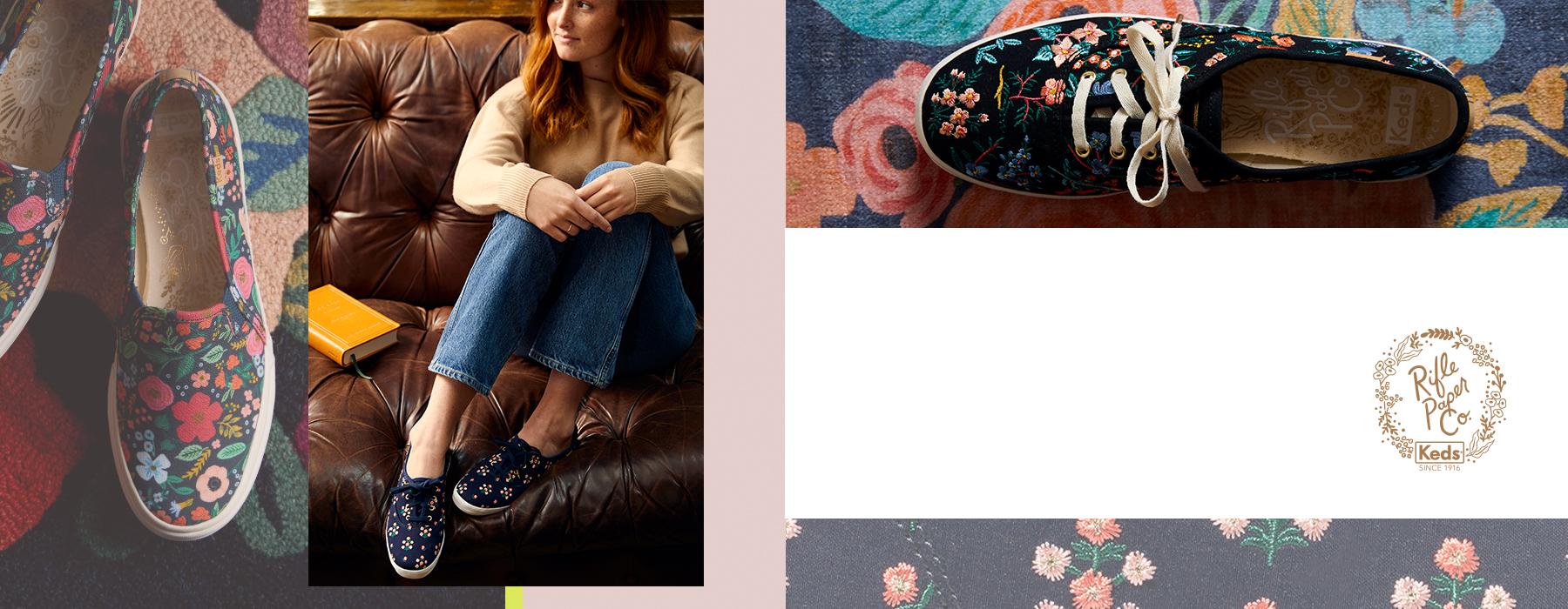 Rifle Paper Co. floral print shoes.