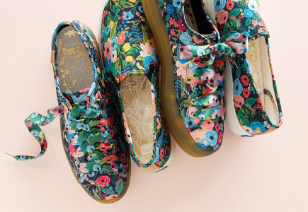 Shoes with flower pattern.