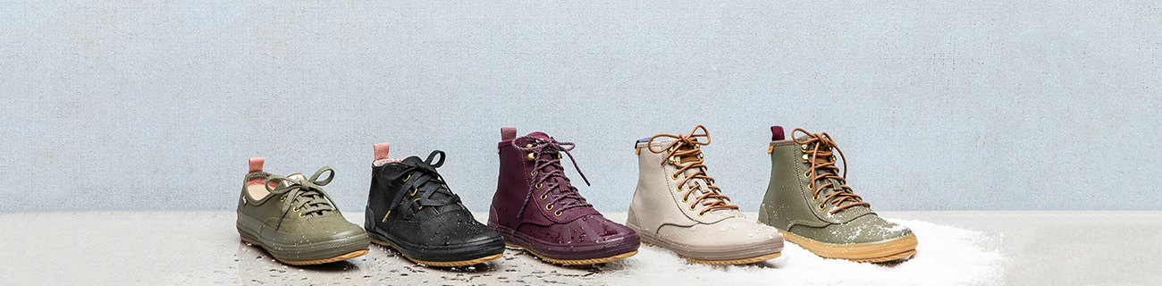 5 different Keds Scout boots and shoes.