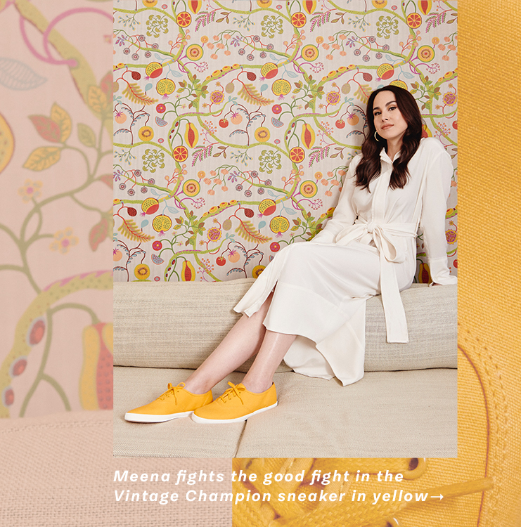 Meena fights the good fight in the Vintage Champion sneaker in yellow →