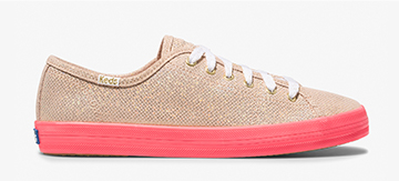 Keds x Oh Joy! Gold Kickstart Neon Foxing Iridescent Leather Sneaker