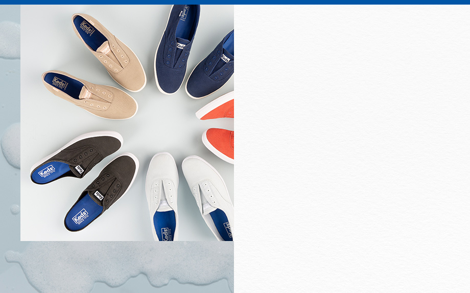 Several colors of washable Keds sneakers arranged in a circle with laces removed.
