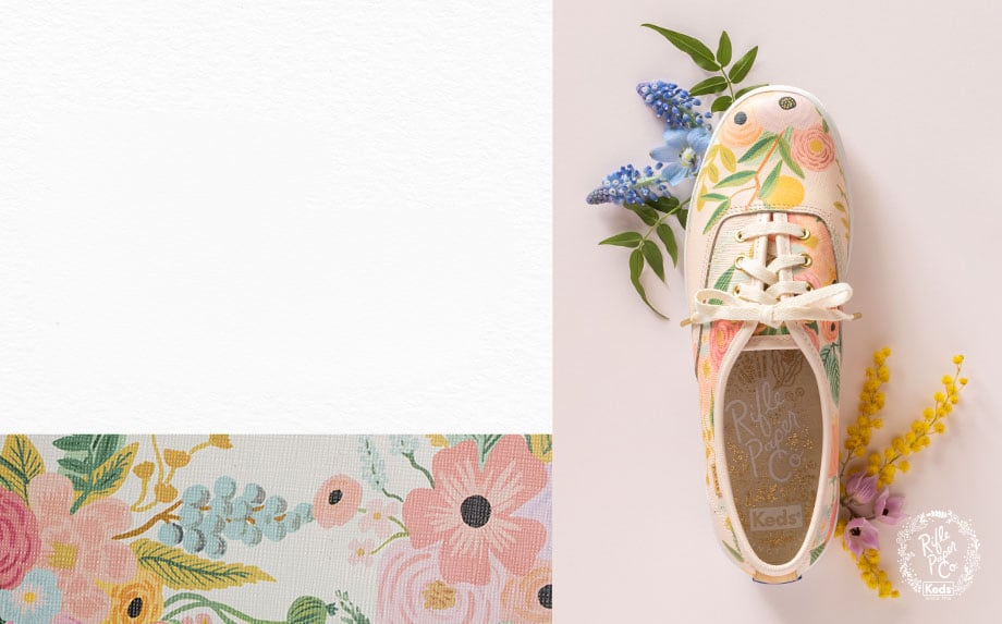 A Keds x Rifle Paper Co. Garden Party shoe.