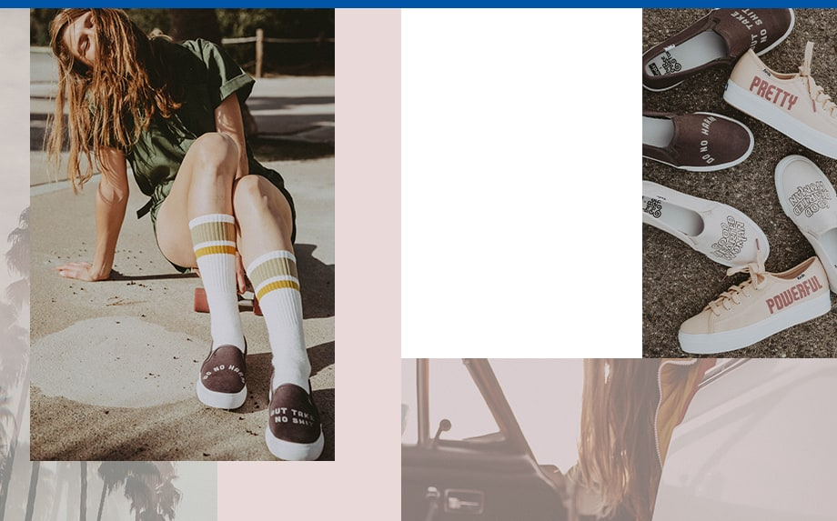 A picture collage of Keds + The Bee and The Fox collaboration