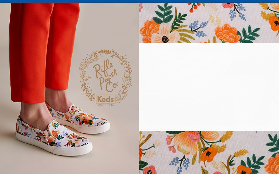 A woman wearing a pair of Keds x Rifle Paper Co. Double Decker Lively Floral shoes.