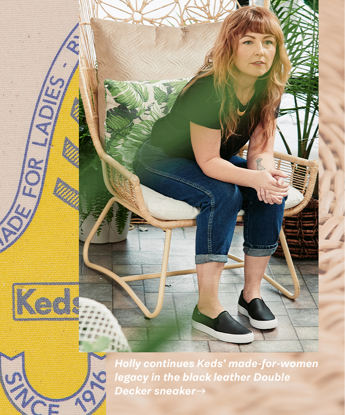 Holly continues Keds' made-for-women legacy in the black leather Double Decker sneaker