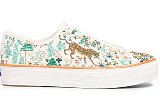 Keds x Rifle Paper Co. Triple Kick Menagerie Embroidered.
