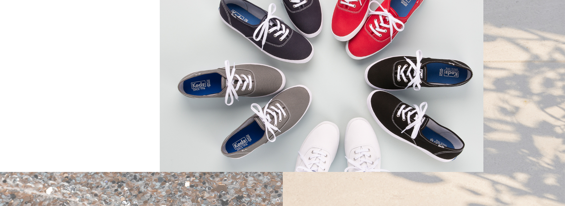 A colorful array of Keds champion sneakers with white laces arranged in a circle with the toes facing one another.