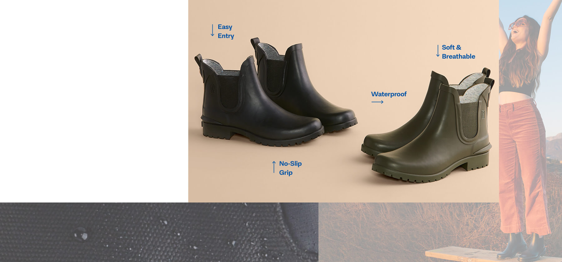 Rown Boots with feature callout text: easy entry, no-slip grip, waterproof, soft & breathable.