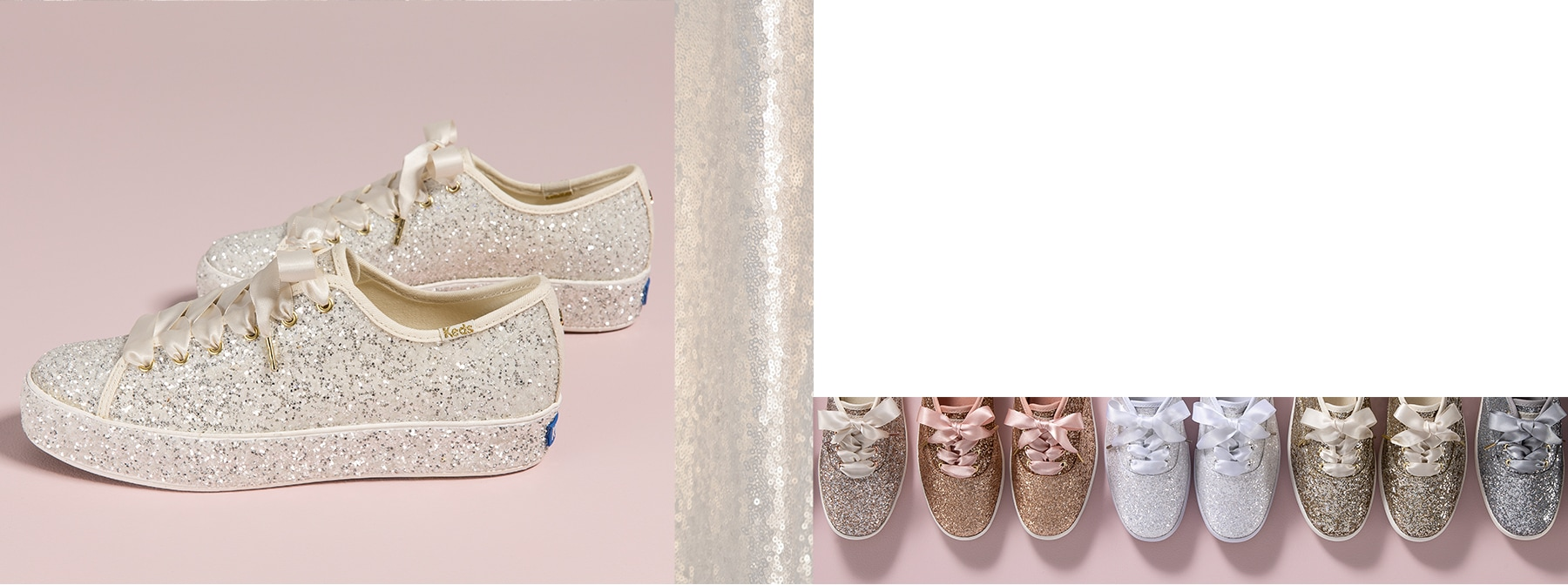 A pair of Keds glitter sneakers.
